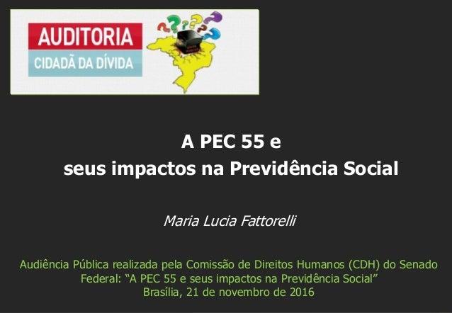 """Maria Lucia Fattorelli Audiência Pública realizada pela Comissão de Direitos Humanos (CDH) do Senado Federal: """"A PEC 55 e ..."""