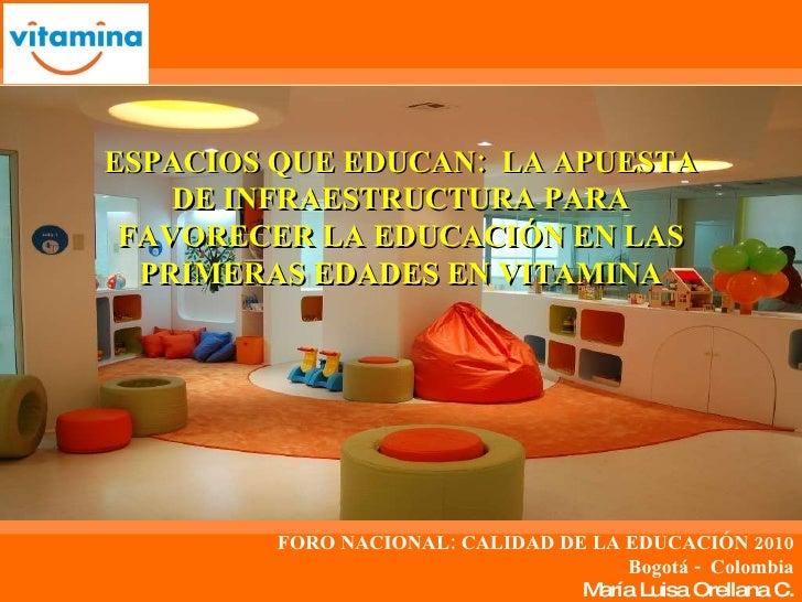 FORO NACIONAL: CALIDAD DE LA EDUCACIÓN 2010 Bogotá -  Colombia María Luisa Orellana C. ESPACIOS QUE EDUCAN:  LA APUESTA DE...