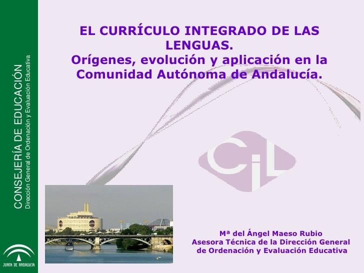 CONSEJERÍA DE EDUCACIÓN                EL CURRÍCULO INTEGRADO DE LAS                                                      ...