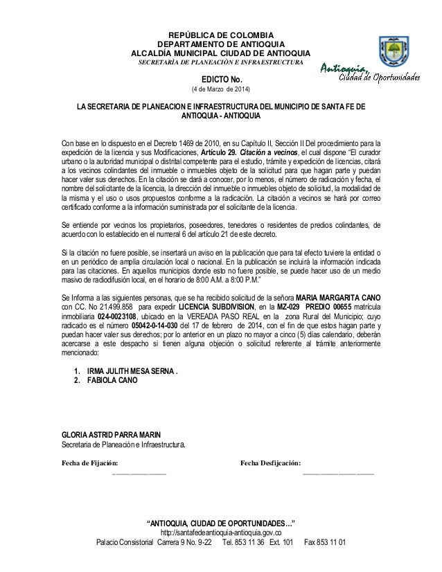 REPÚBLICA DE COLOMBIA DEPARTAMENTO DE ANTIOQUIA ALCALDÍA MUNICIPAL CIUDAD DE ANTIOQUIA SECRETARÌA DE PLANEACIÒN E INFRAEST...