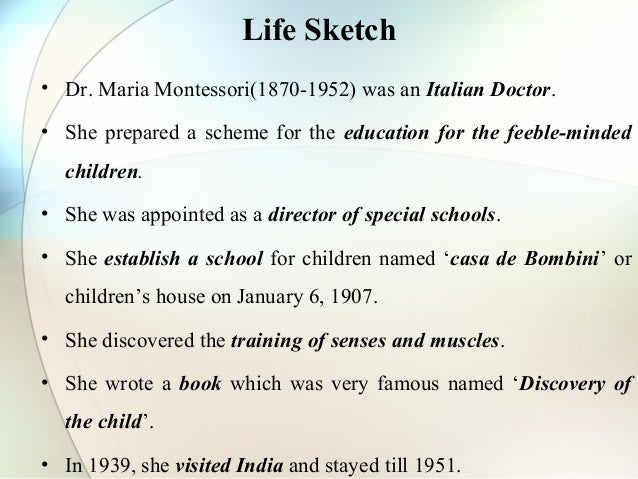 montessori discovery of the child chapter 6 summary Montessori method (montessori) 2 years ago • child development theories , learning theories & models • 1 summary: the montessori method is an approach to learning which emphasizes active learning, independence, cooperation, and learning in harmony with each child's unique pace of development.