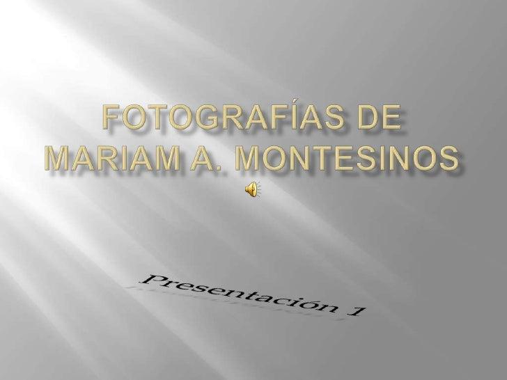Fotografías deMariam A. Montesinos<br />Presentación 1<br />