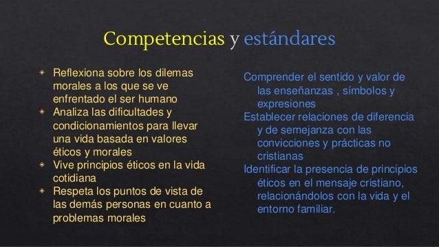Competencias y estándares ◈ Reflexiona sobre los dilemas morales a los que se ve enfrentado el ser humano ◈ Analiza las di...