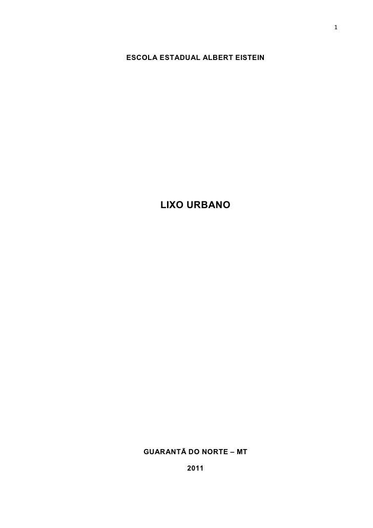 1ESCOLA ESTADUAL ALBERT EISTEIN       LIXO URBANO   GUARANTÃ DO NORTE – MT             2011