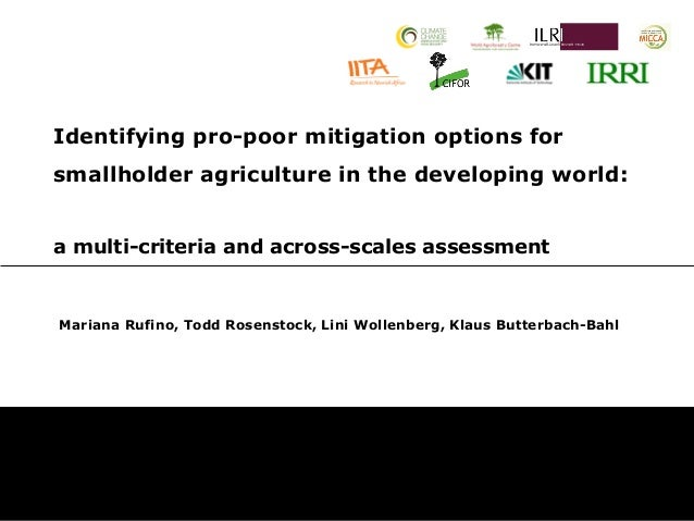 Identifying pro-poor mitigation options forsmallholder agriculture in the developing world:a multi-criteria and across-sca...