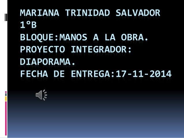 MARIANA TRINIDAD SALVADOR  1°B  BLOQUE:MANOS A LA OBRA.  PROYECTO INTEGRADOR:  DIAPORAMA.  FECHA DE ENTREGA:17-11-2014