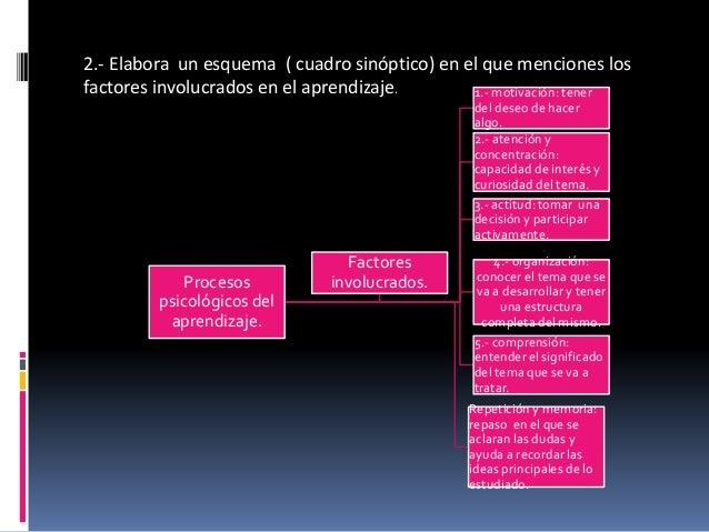 2.- Elabora un esquema ( cuadro sinóptico) en el que menciones los  factores involucrados en el aprendizaje.  Procesos  ps...