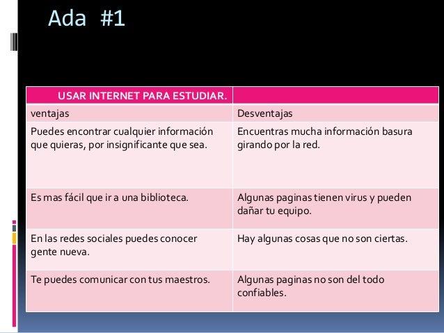 Ada #1  USAR INTERNET PARA ESTUDIAR.  ventajas Desventajas  Puedes encontrar cualquier información  que quieras, por insig...