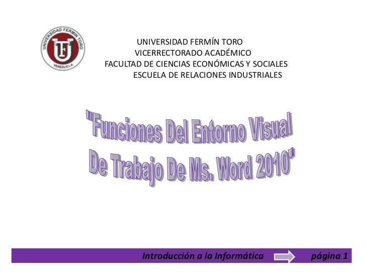 UNIVERSIDAD FERMÍN TORO       VICERRECTORADO ACADÉMICOFACULTAD DE CIENCIAS ECONÓMICAS Y SOCIALES      ESCUELA DE RELACIONE...