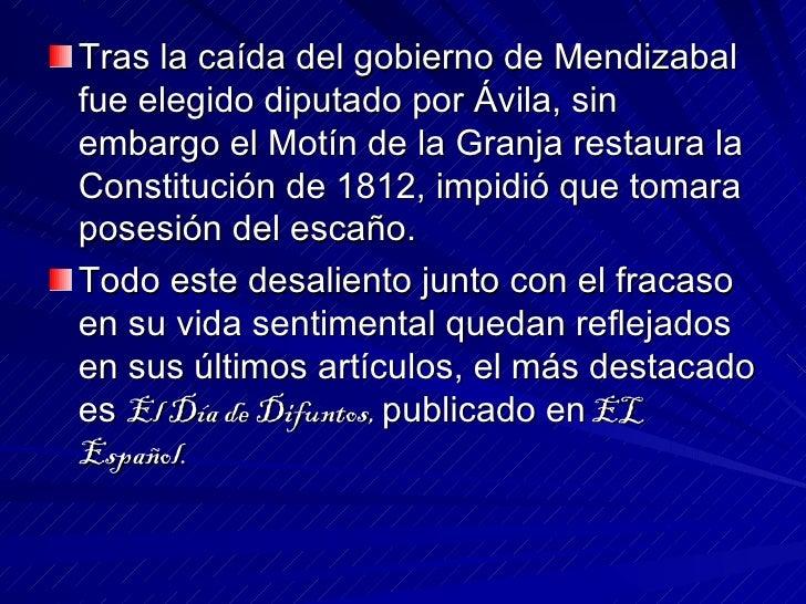 <ul><li>Tras la caída del gobierno de Mendizabal fue elegido diputado por Ávila, sin embargo el Motín de la Granja restaur...