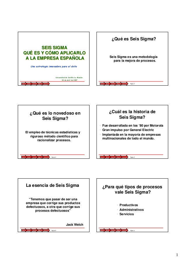 1 Página 1AnalizarMedir ControlarMejorarDefinir SEIS SIGMA QUÉ ES Y CÓMO APLICARLO A LA EMPRESA ESPAÑOLA SEIS SIGMA QUÉ ES...