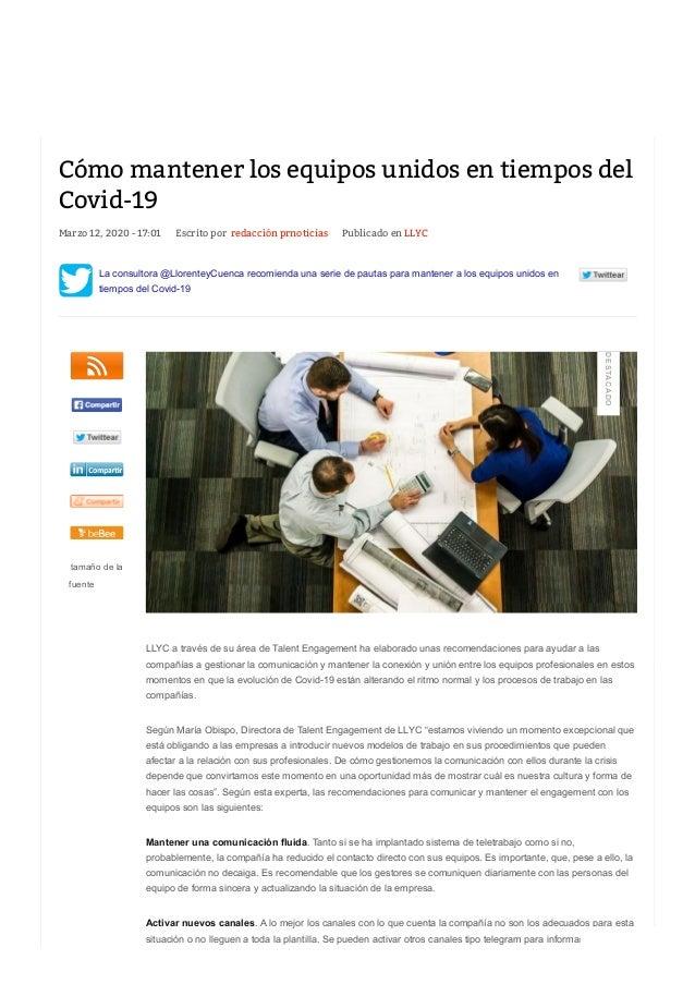 Marzo 12, 2020 - 17:01 Escrito porredacción prnoticias Publicado en LLYC La consultora @LlorenteyCuenca recomienda una se...