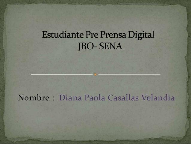 Nombre : Diana Paola Casallas Velandia