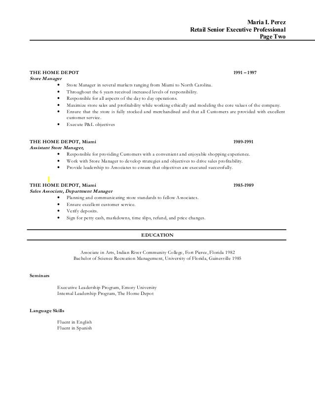 Beautiful Home Depot Manager Resume Photos - Resume Samples .