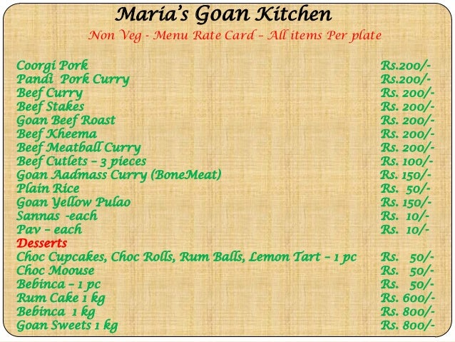 Maria 39 s goan kitchen menu jan2015 for Maria s italian kitchen menu