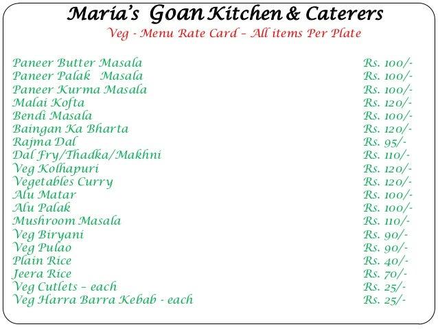Marias goan kitchen plate menu card for Maria s italian kitchen menu
