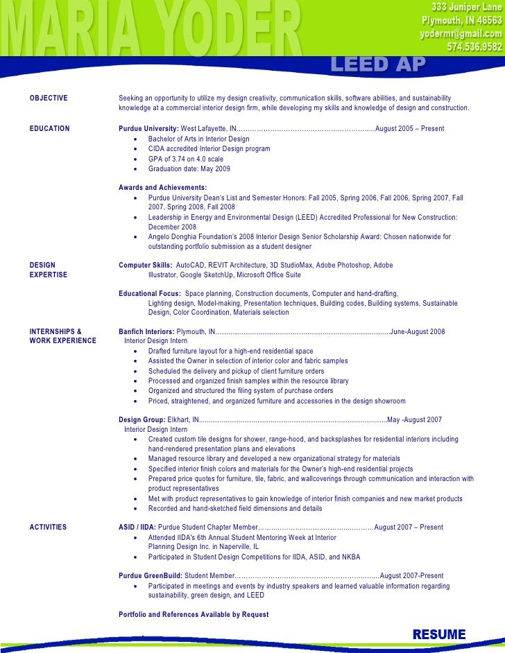 interior design resume objective examples resumes