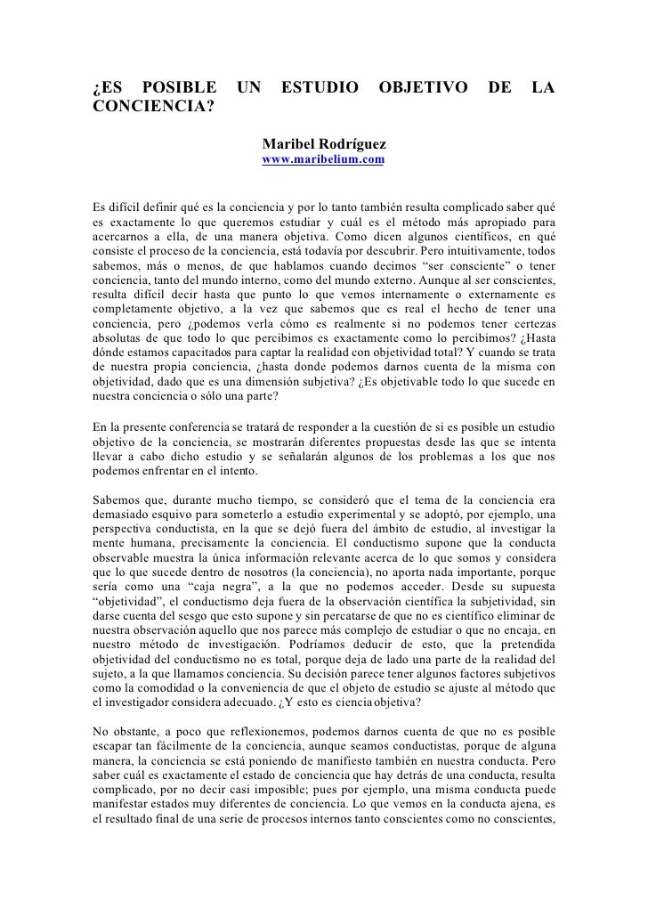 ¿ES POSIBLE                 UN       ESTUDIO            OBJETIVO              DE       LA CONCIENCIA?                     ...