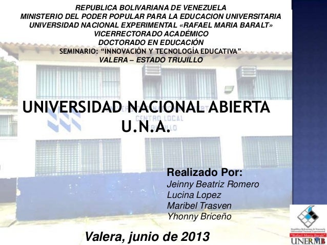 REPUBLICA BOLIVARIANA DE VENEZUELAMINISTERIO DEL PODER POPULAR PARA LA EDUCACION UNIVERSITARIAUNIVERSIDAD NACIONAL EXPERIM...