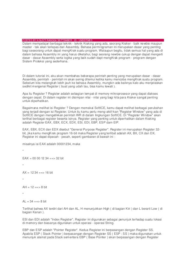 Mari belajar Assembly (Dasar-dasarAssembly)POSTED BY K.GUSTI RANGGA SEPTEMBER - 23 - UNDEFINEDDalam mempelajari berbagai t...