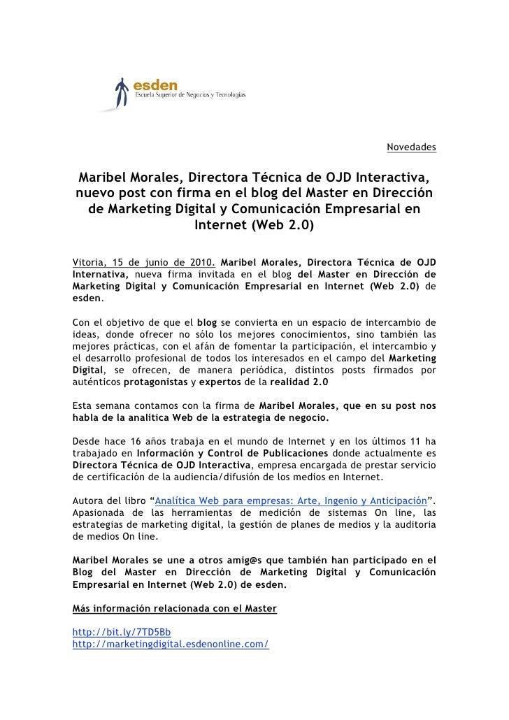 Novedades   Maribel Morales, Directora Técnica de OJD Interactiva, nuevo post con firma en el blog del Master en Dirección...