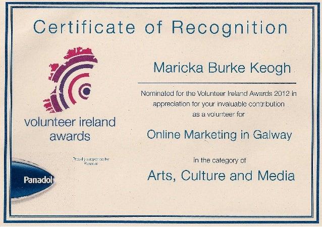 Certificate if recognition from Volunteer Ireland