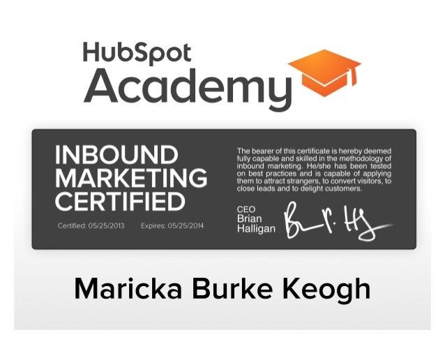 Maricka Inbound Marketing Certificate (Hubspot Academy)