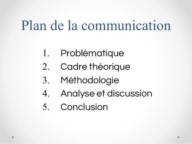 Plan de la communication 1. Problématique 2. Cadre théorique 3. Méthodologie 4. Analyse et discussion 5. Conclusion