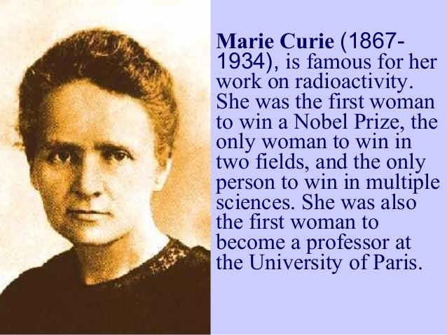 What Who Did Is Marie And She Discover Curie
