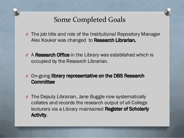 O The job title and role of the Institutional Repository Manager Alex Kouker was changed to Research Librarian. O A Resear...