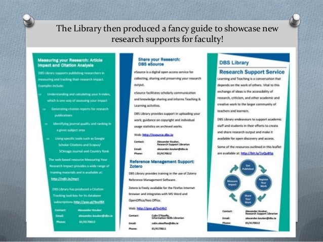 The Library then produced a fancy guide to showcase new research supports for faculty!