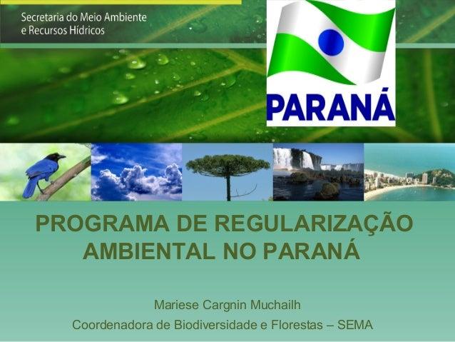 PROGRAMA DE REGULARIZAÇÃO   AMBIENTAL NO PARANÁ               Mariese Cargnin Muchailh  Coordenadora de Biodiversidade e F...