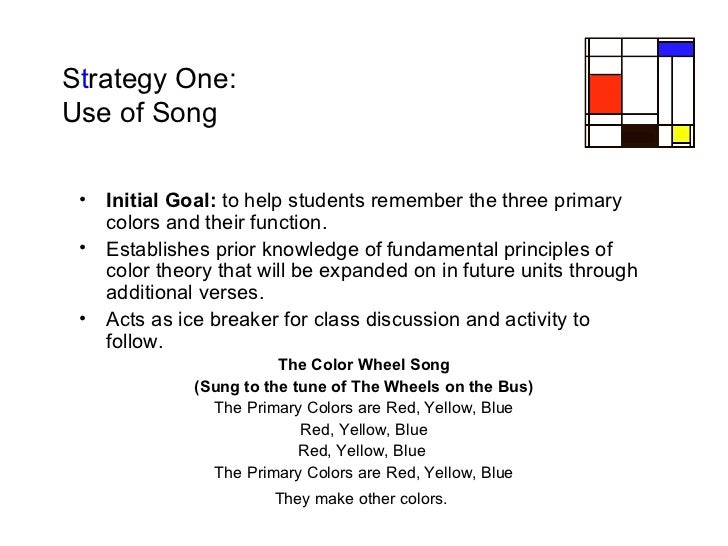 S t rategy One:  Use of Song <ul><li>Initial Goal:  to help students remember the three primary colors and their function....