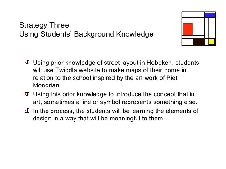 Strategy Three:  Using Students' Background Knowledge <ul><li>Using prior knowledge of street layout in Hoboken, students ...
