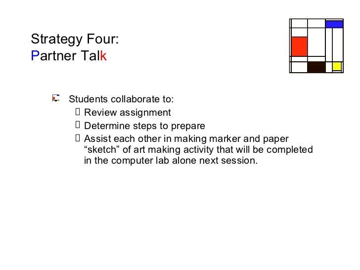 Strategy Four:  P artner   Tal k <ul><ul><li>Students collaborate to: </li></ul></ul><ul><ul><ul><li>Review assignment </l...