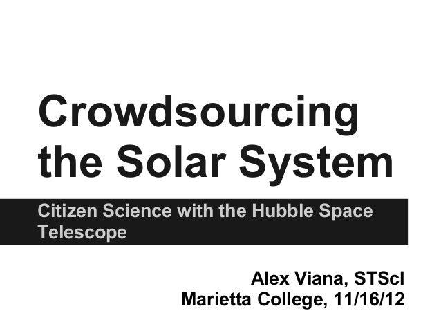 Crowdsourcingthe Solar SystemCitizen Science with the Hubble SpaceTelescope                       Alex Viana, STScI       ...