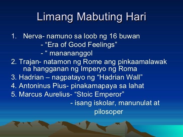 """Limang Mabuting Hari <ul><li>Nerva- namuno sa loob ng 16 buwan </li></ul><ul><li>- """"Era of Good Feelings"""" </li></ul><ul><l..."""