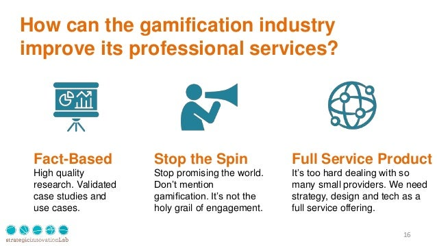 How can the gamification industry improve its professional services? 16 Fact-Based High quality research. Validated case s...
