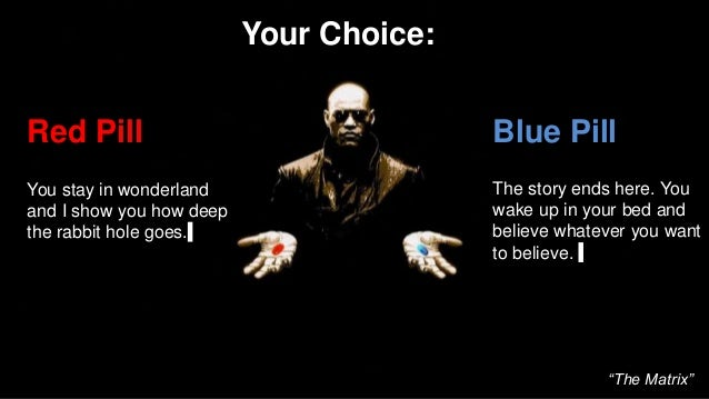 Red Pill You stay in wonderland and I show you how deep the rabbit hole goes. Blue Pill The story ends here. You wake up i...