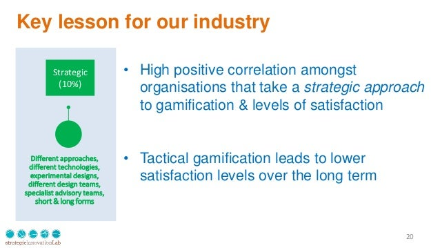 Key lesson for our industry 20 Strategic (10%) Different approaches, different technologies, experimental designs, differe...