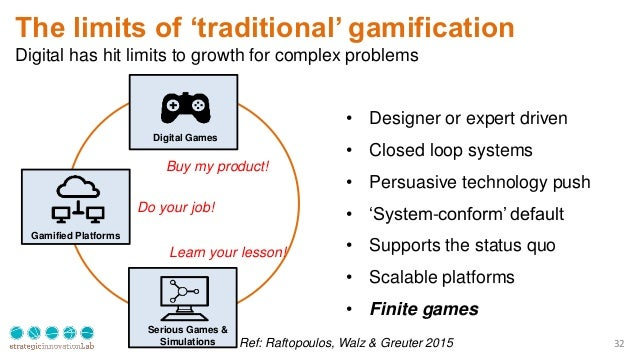 32 The limits of 'traditional' gamification Digital has hit limits to growth for complex problems Digital Games Serious Ga...