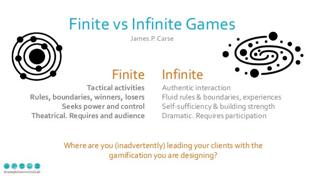 34 Finite vs Infinite Games James.P.Carse Finite Tactical activities Rules, boundaries, winners, losers Seeks power and co...