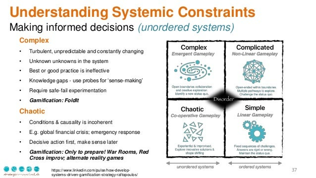 37 Understanding Systemic Constraints Making informed decisions (unordered systems) Complex • Turbulent, unpredictable and...
