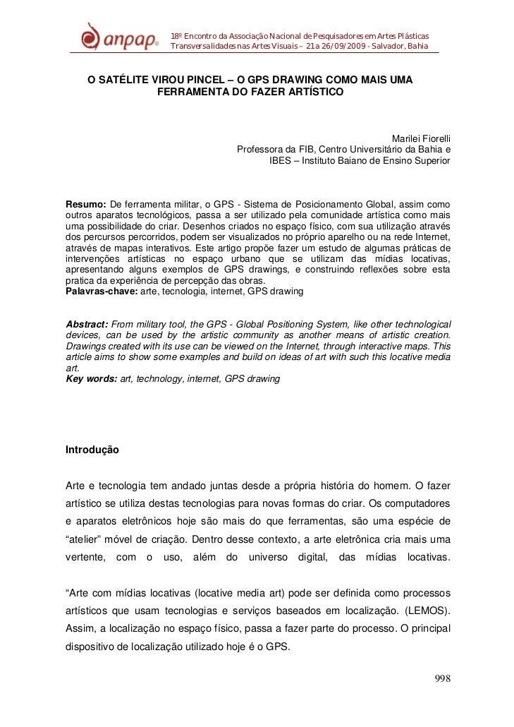 18º Encontro da Associação Nacional de Pesquisadores em Artes Plásticas                        Transversalidades nas Artes...