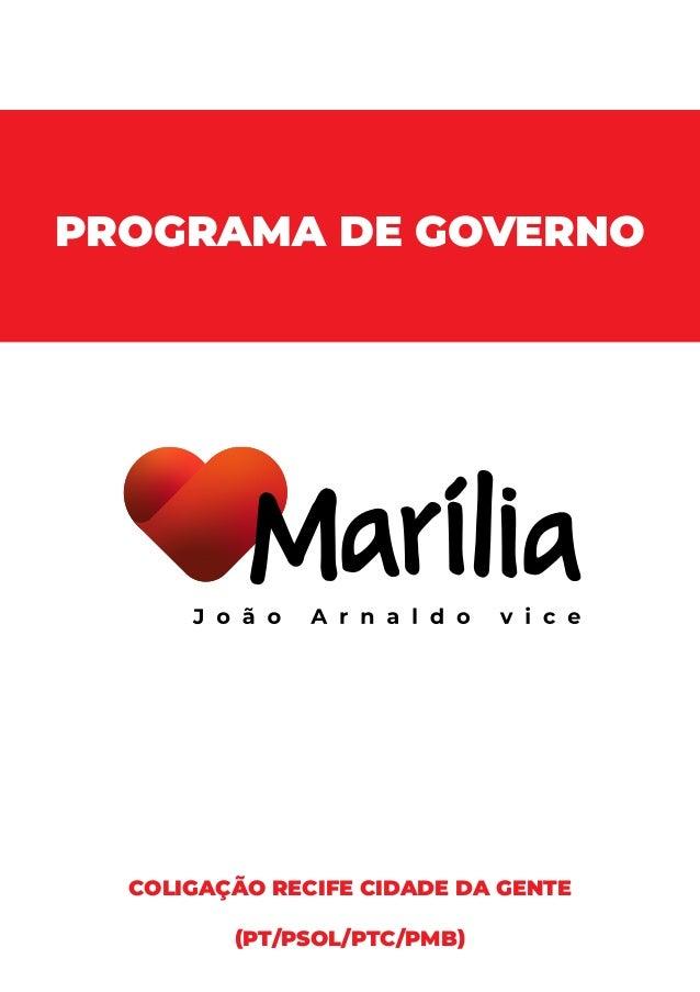 PROGRAMA DE GOVERNO COLIGAÇÃO RECIFE CIDADE DA GENTE (PT/PSOL/PTC/PMB)