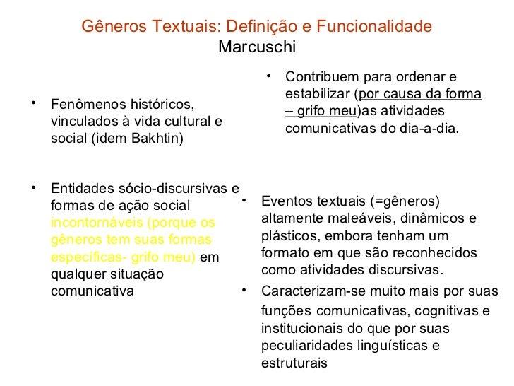 Gêneros Textuais: Definição e Funcionalidade                         Marcuschi                                      •   Co...