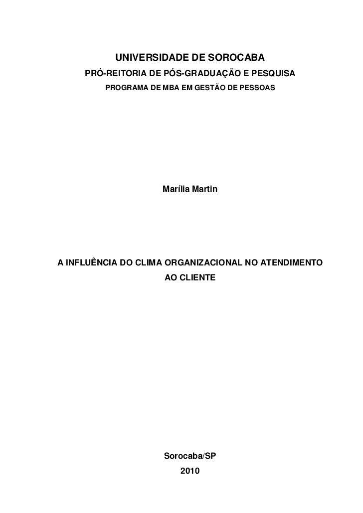 UNIVERSIDADE DE SOROCABA     PRÓ-REITORIA DE PÓS-GRADUAÇÃO E PESQUISA         PROGRAMA DE MBA EM GESTÃO DE PESSOAS        ...