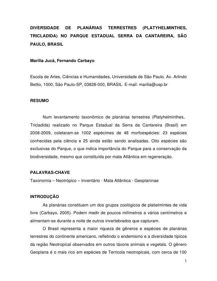 DIVERSIDADE  DE  PLANÁRIAS  TERRESTRES  (PLATYHELMINTHES, TRICLADIDA)  NO  PARQUE  ESTADUAL  SERRA  DA  CANTARE...