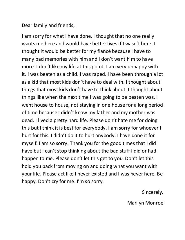 marilyn monroe suicide note