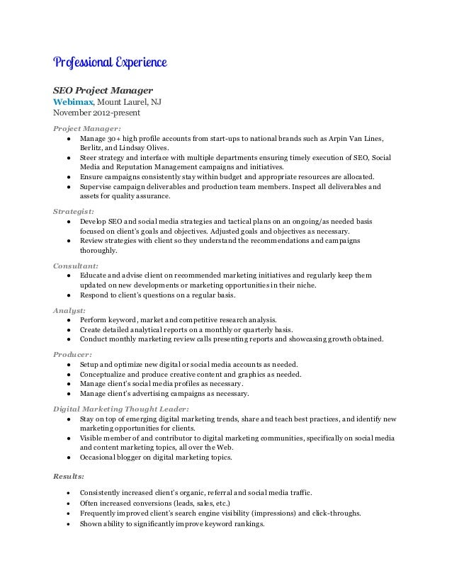 Digital Marketing Resume Samples Visualcv Database